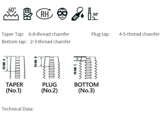 DIN352 Hand Tap Set, 3pcs HSS, M1-M6